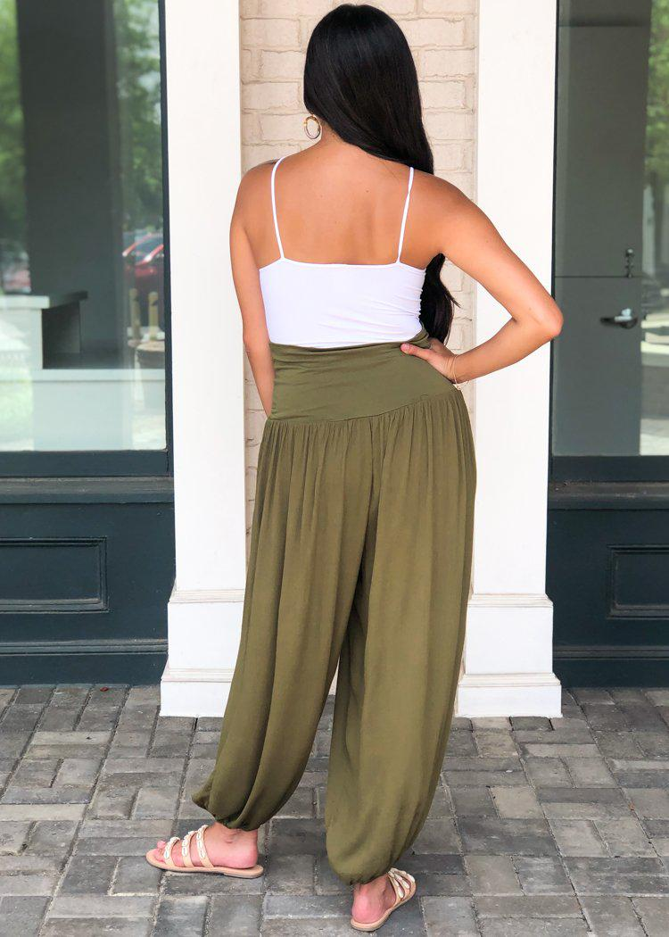 Ylang Ylang Harem Pants- Olive-Hand In Pocket