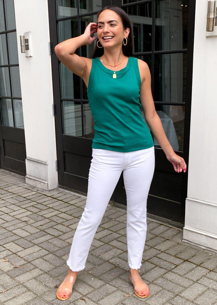Michael Stars Paloma Boatneck Tank-Emerald-Hand In Pocket