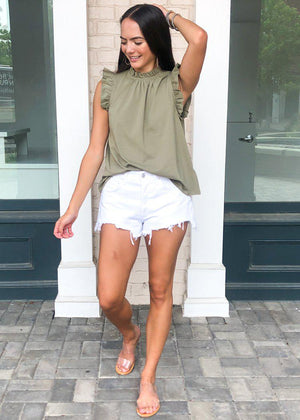 Karlie Bluffview Ruffle Tee - Olive-Hand In Pocket