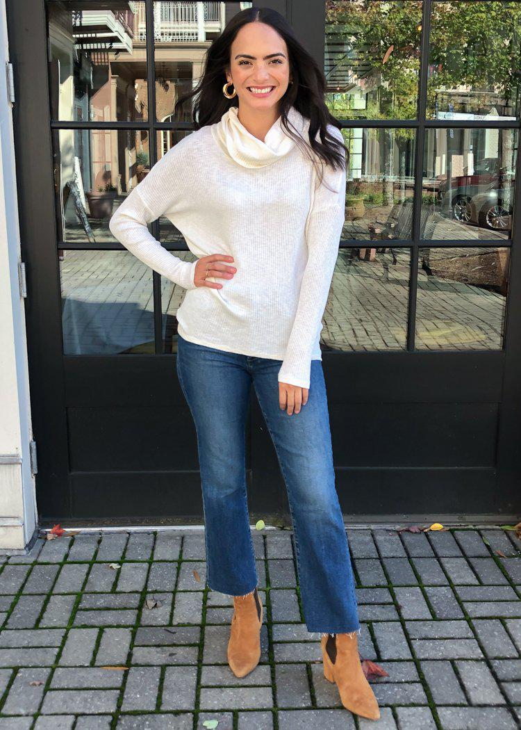Bobi Favorite Slub Long sleeve Cowl Neck-Cream-Hand In Pocket