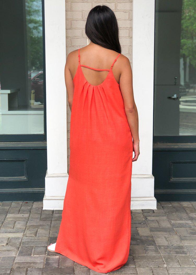 THML Cayenne Spaghetti Strap Maxi Dress-Hand In Pocket