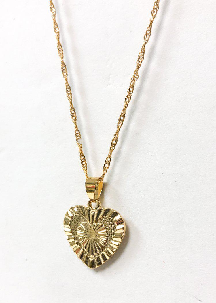 Bracha Sacred Heart Pendant Necklace - Gold-Hand In Pocket