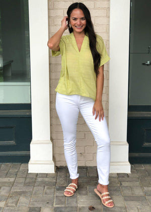 Karlie Sea Island Gauze Top-Lime-Hand In Pocket