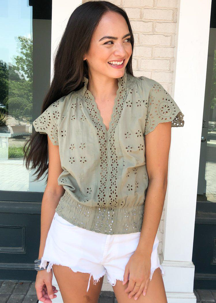 Romantic Feelings Eyelet Blouse - Light Olive-Hand In Pocket