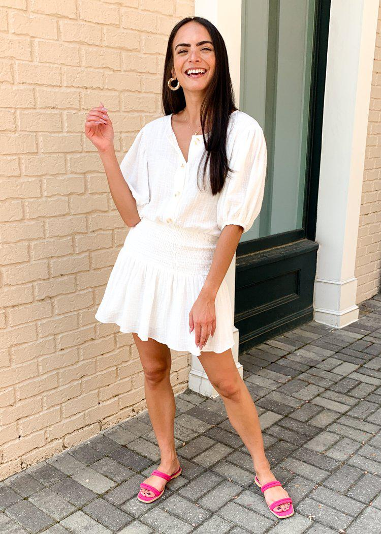 Fernandina Gauze Button Front Smocked Waist Dress-White-Hand In Pocket