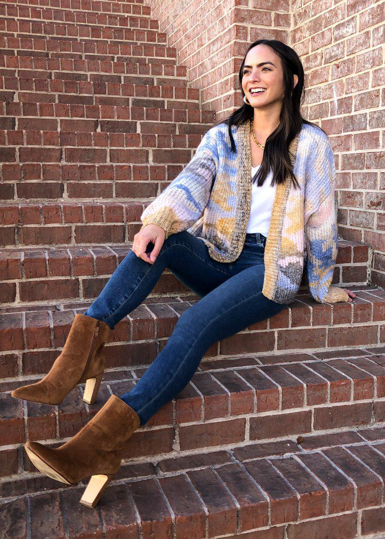 Aspen Colorful Open Front Cardigan-Hand In Pocket