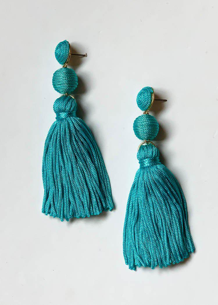 Caracas Tassel Drop Earrings-Turquoise-Hand In Pocket