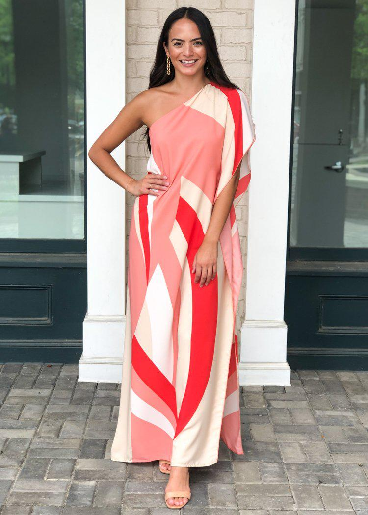 Windemere One Shoulder Colorblock Maxi Dress-Red ***FINAL SALE***-Hand In Pocket
