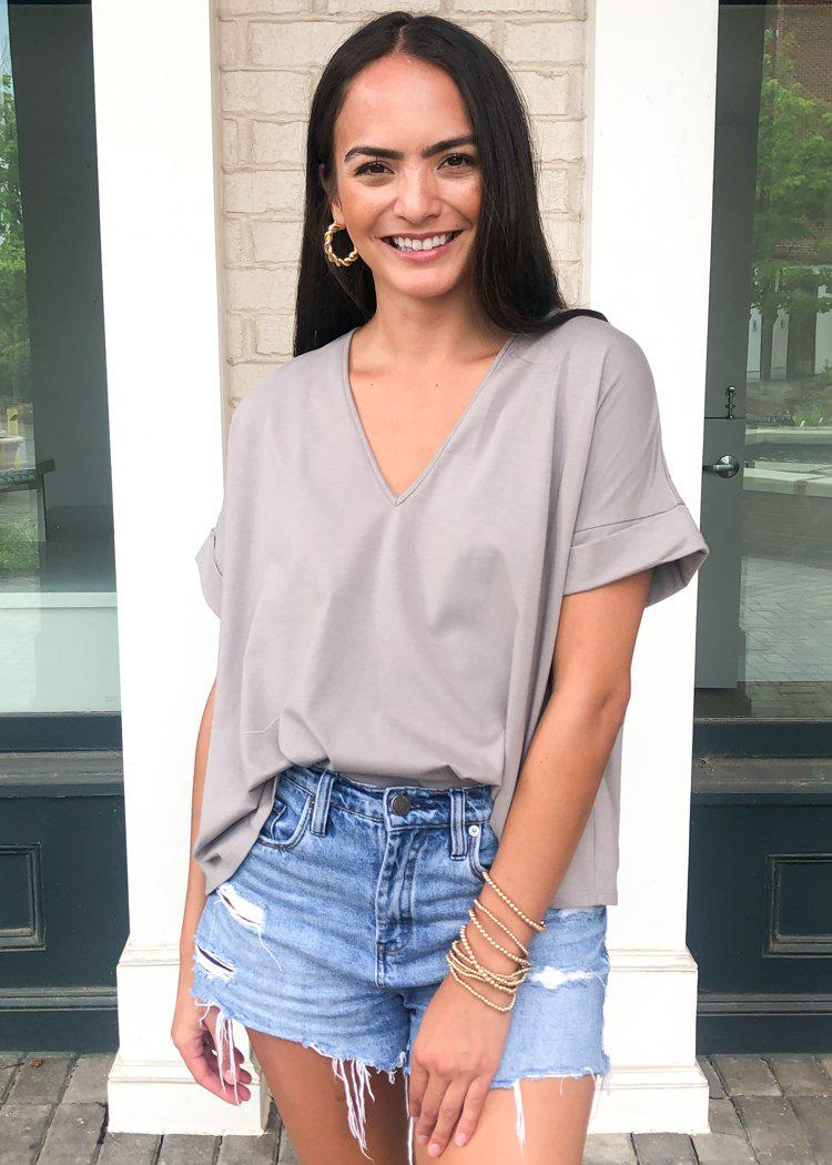 Karlie Staple V Neck Boxy Tee-Grey-Hand In Pocket