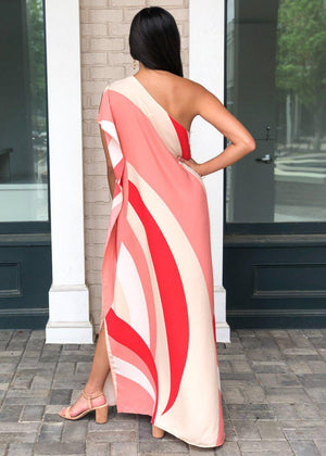 Windemere One Shoulder Colorblock Maxi Dress-Red-Hand In Pocket