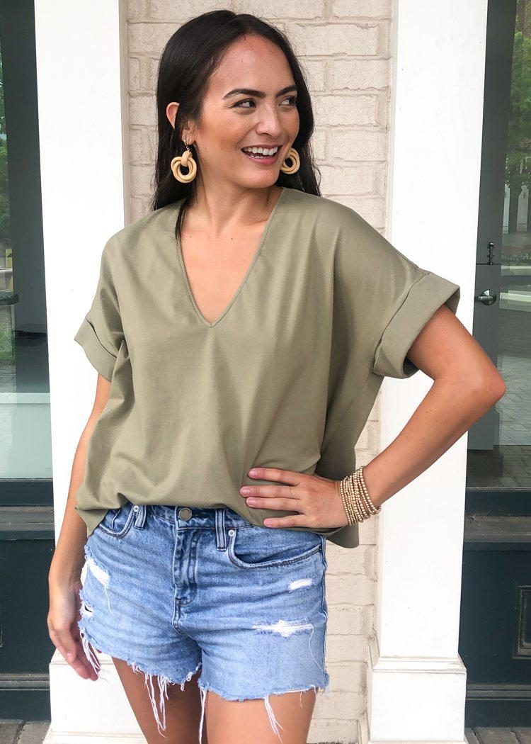 Karlie Staple V Neck Boxy Tee - Olive-Hand In Pocket