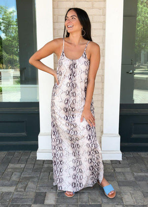 THML Prairie Snake Print Maxi-Hand In Pocket