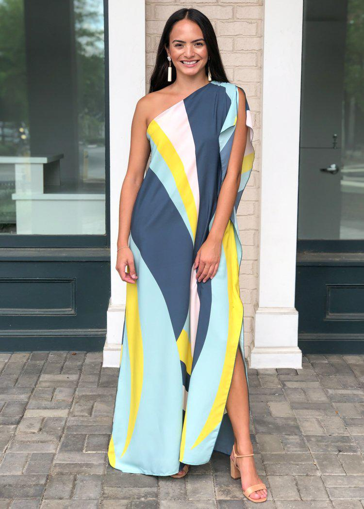 Windemere One Shoulder Colorblock Maxi Dress-Mint-Hand In Pocket