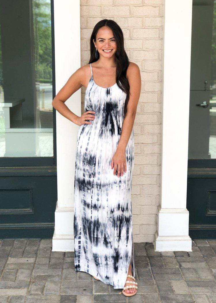 THML Caracas Navy and White Tie Dye Spaghetti Strap Maxi Dress-Hand In Pocket