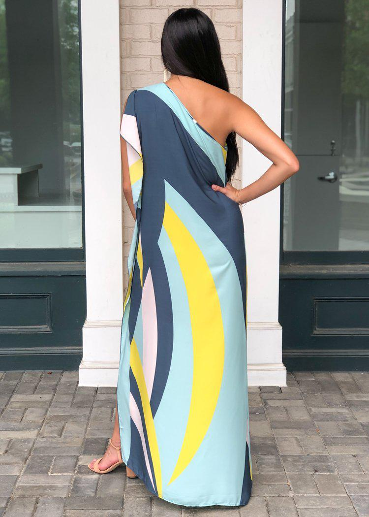 Windemere One Shoulder Colorblock Maxi Dress-Mint ***FINAL SALE***-Hand In Pocket