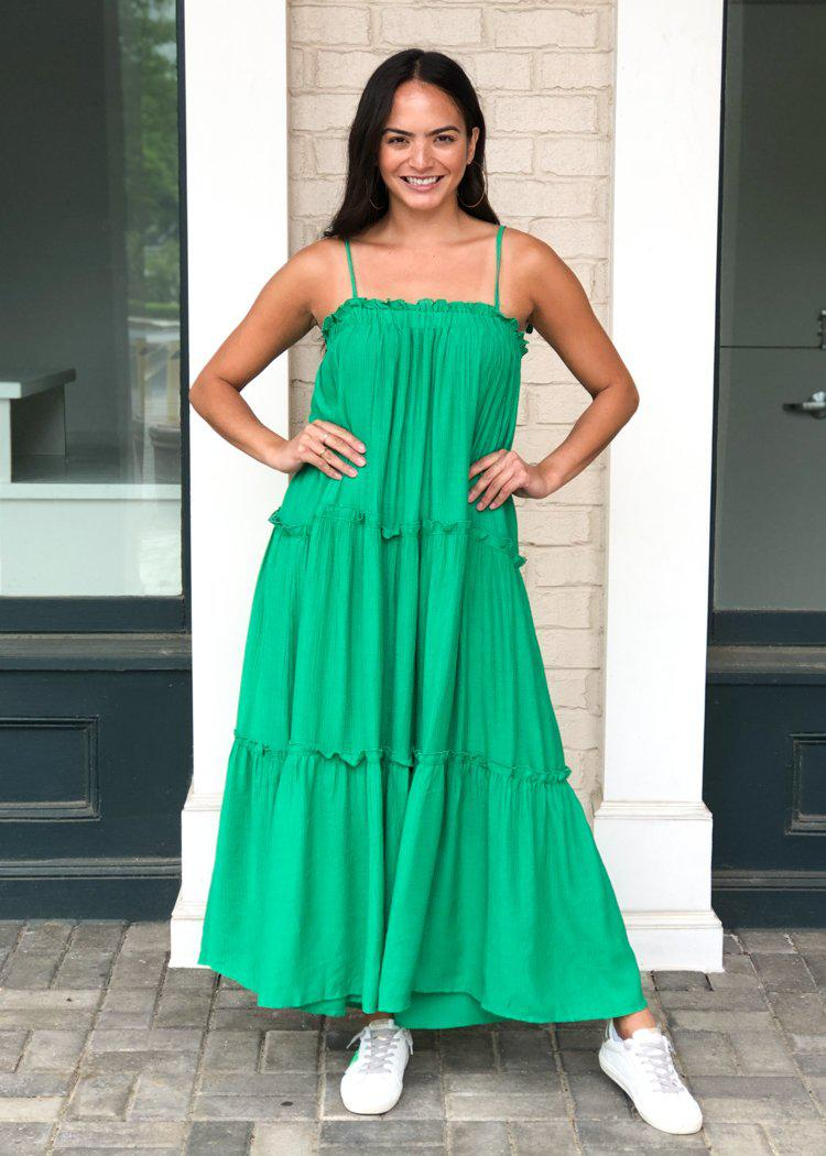 Grayton Pocketed Tiered Maxi - Kelly Green-Hand In Pocket