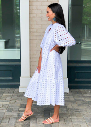 Karlie Sonoma Eyelet Midi Dress-White-Hand In Pocket