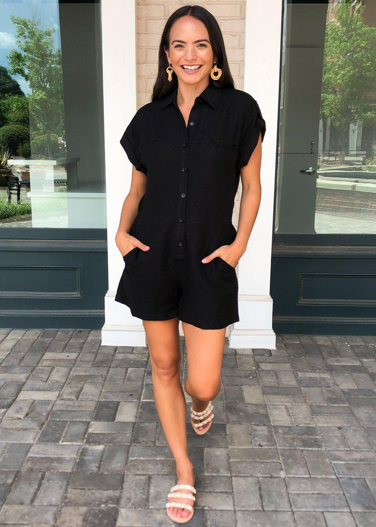 YFB Reed Utility Button Down Romper-***FINAL SALE***-Hand In Pocket