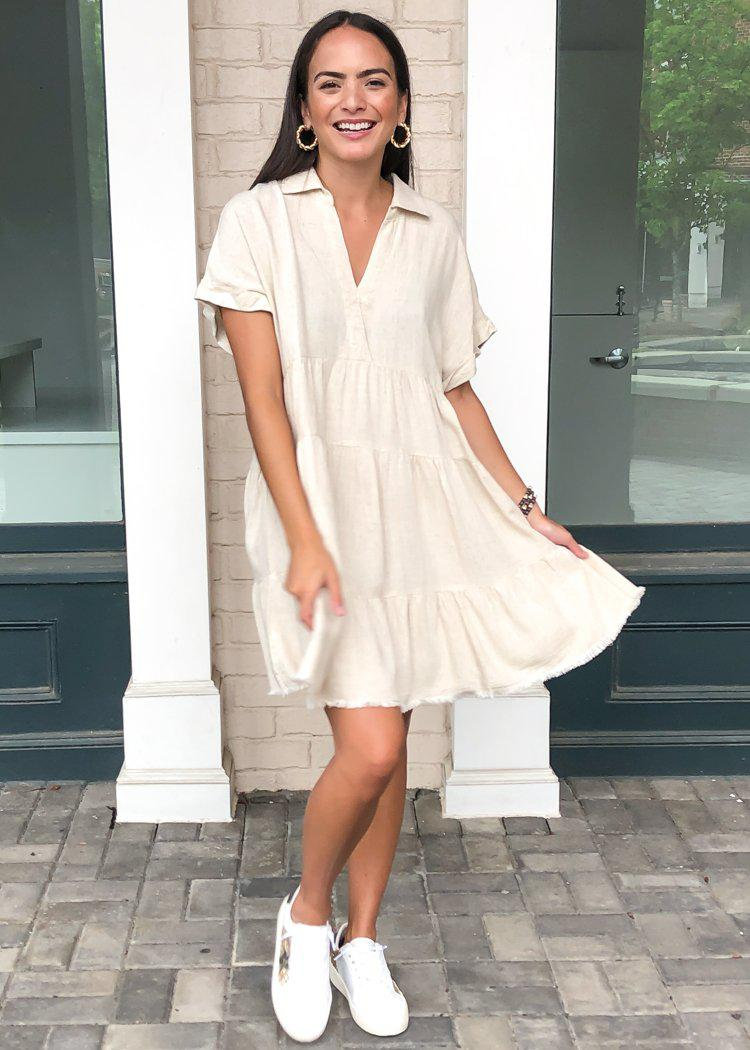 West Port Tiered Shirtdress- Oatmeal-Hand In Pocket