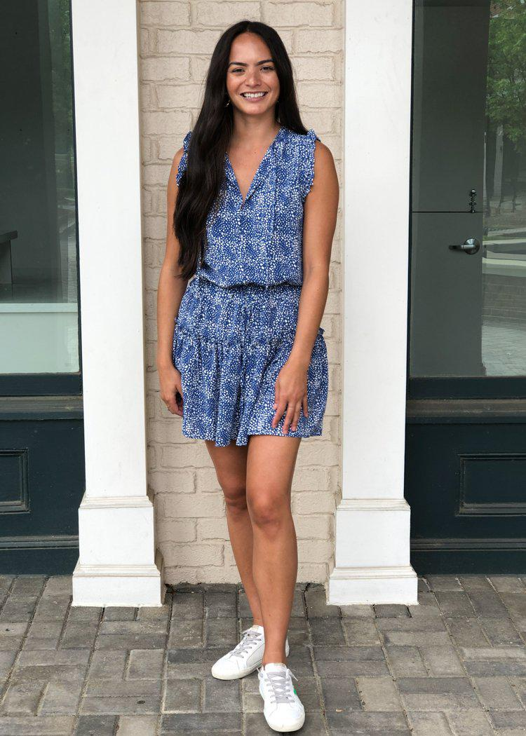 Pinch Rosemary Blue Print Dress -Blue-Hand In Pocket