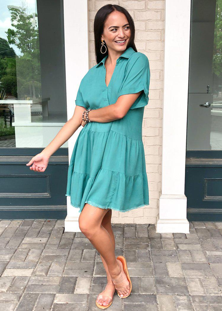 West Port Tiered Shirtdress - Teal-Hand In Pocket