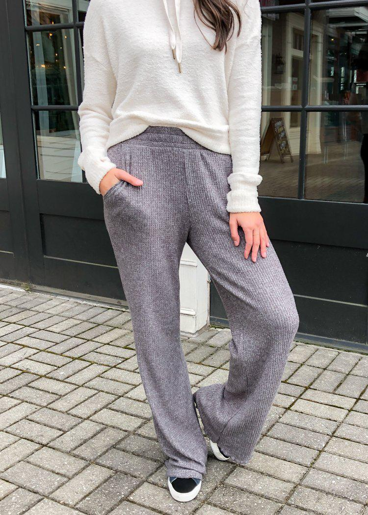 Z Supply Morning Thermal Pant-Charcoal-Hand In Pocket