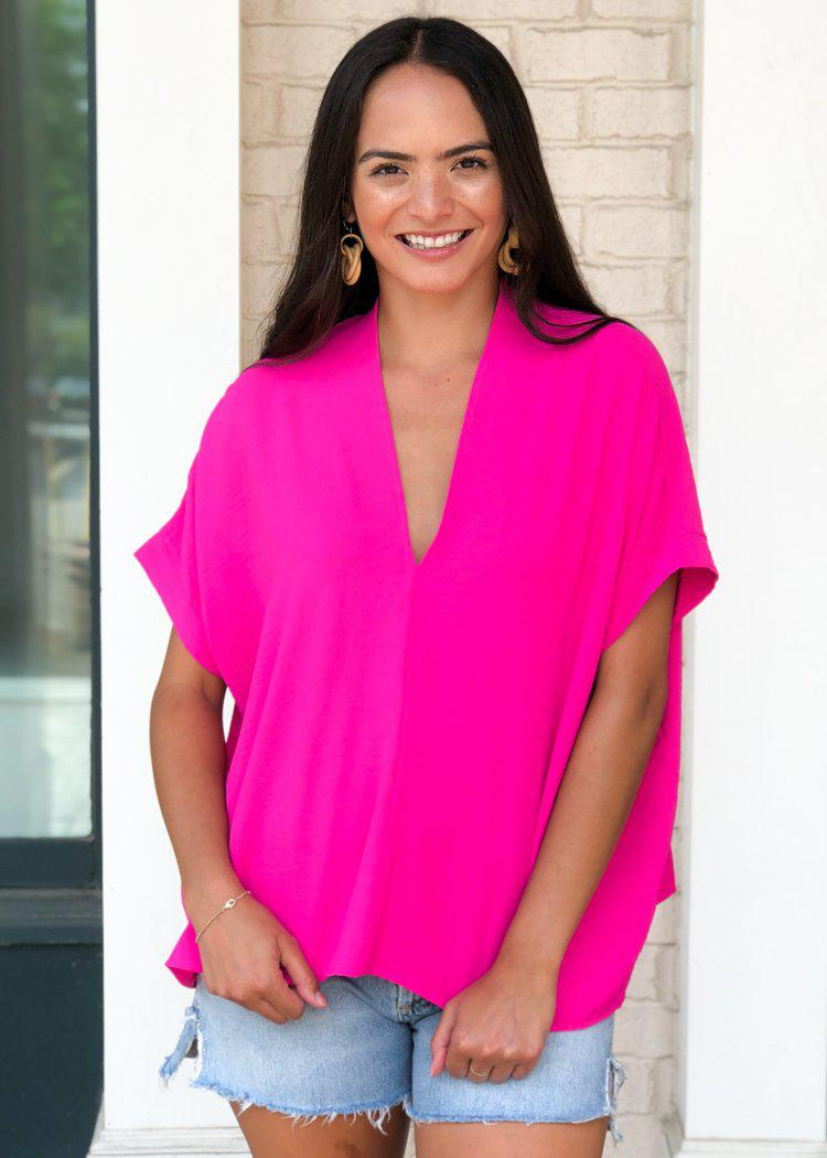 Karlie Hot Pink Essential V Neck Blouse-Hand In Pocket