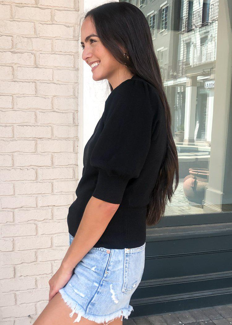Girl Next Door Puff Sleeve Sweater- Black-Hand In Pocket
