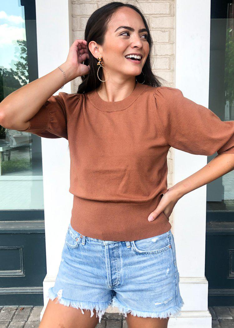 Girl Next Door Puff Sleeve Sweater- Camel-Hand In Pocket