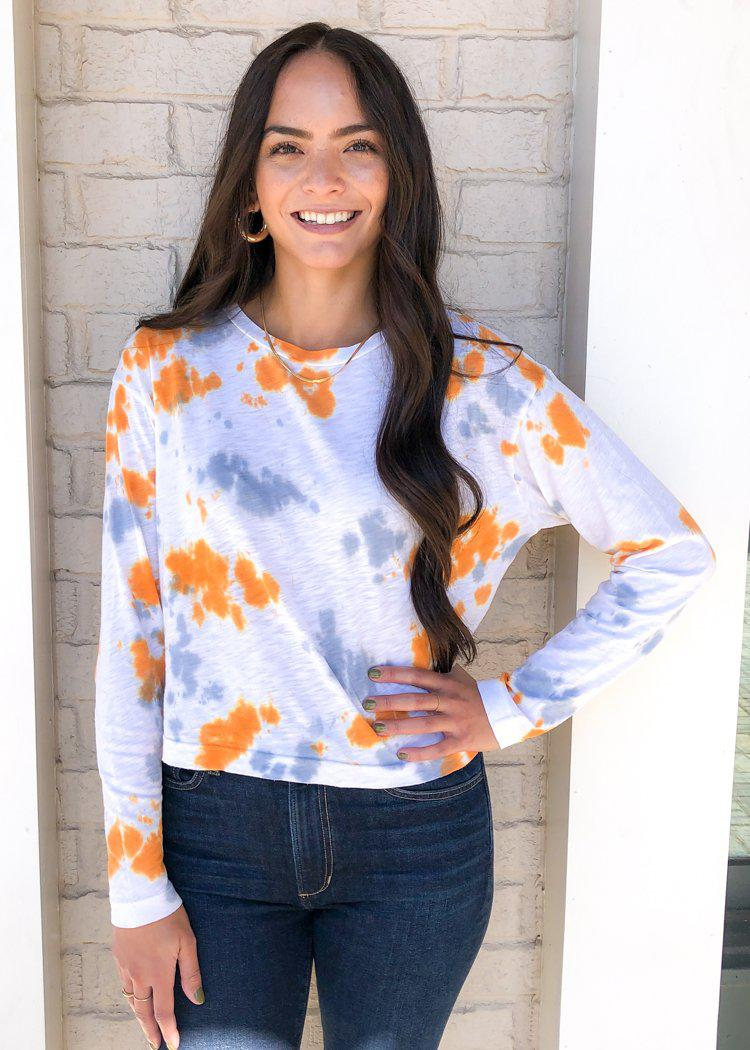 Stateside slub tie dye long-sleeve boxy crew-Dusk ***FINAL SALE***-Hand In Pocket