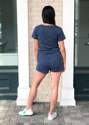 Bobi Short Sleeve Henley Romper - Denim Heather-Hand In Pocket
