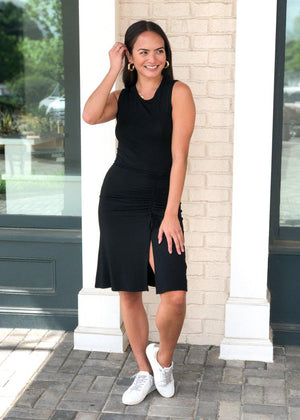 RD Style Black Sleeveless Side Ruched Knit Dress-Hand In Pocket