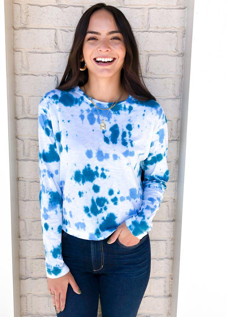 Stateside slub tie dye long-sleeve boxy crew-Ocean ***FINAL SALE***-Hand In Pocket