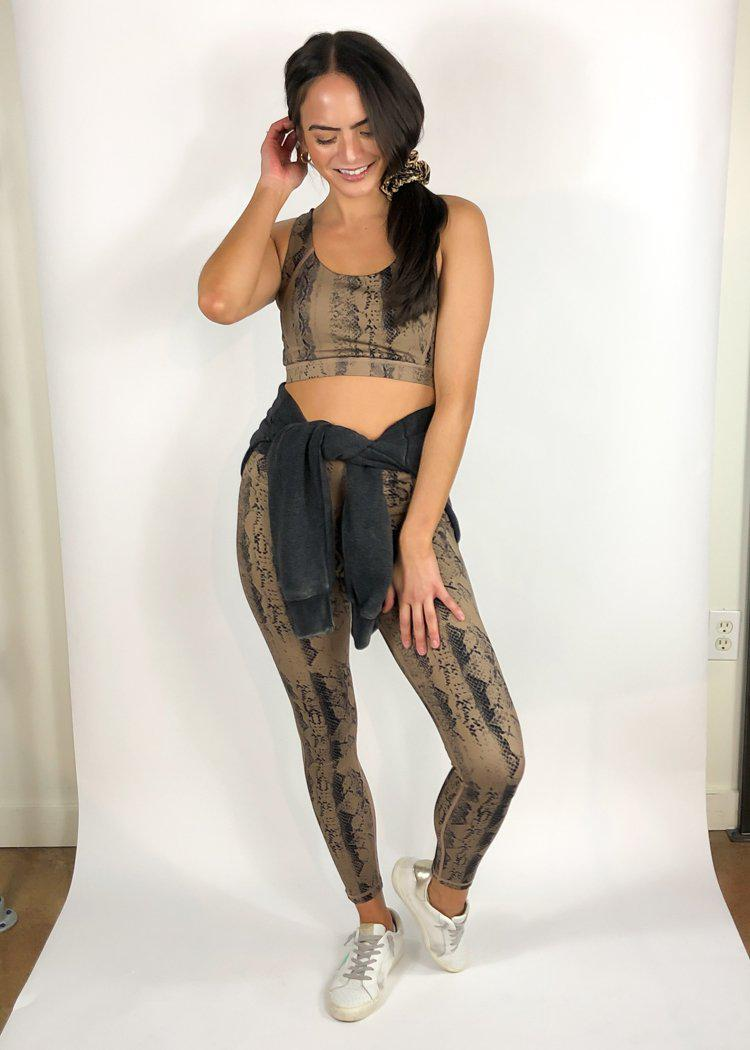Revive Snake Print 7/8 Legging - Brown Snake-Hand In Pocket