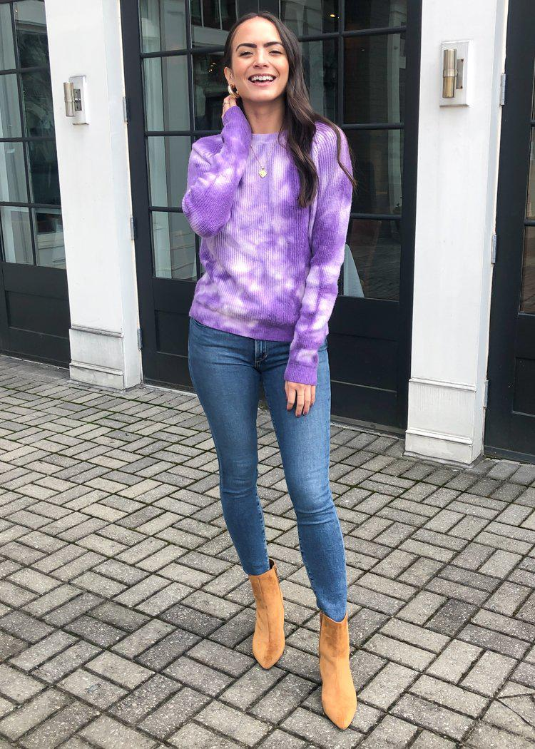 Hailey Deep Tie Dye Sweater - Purple ***FINAL SALE***-Hand In Pocket