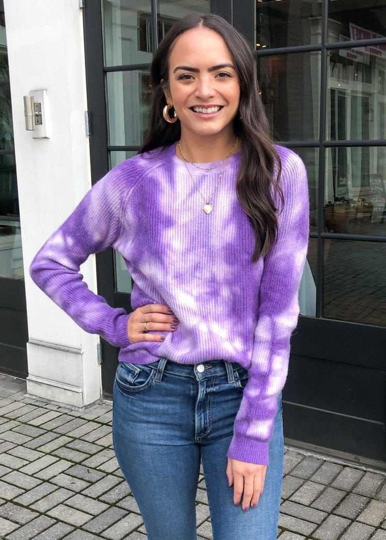 Hailey Deep Tie Dye Sweater - Purple-Hand In Pocket