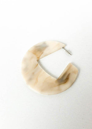 Merida Modern Marble Acrylic Hoops - Ivory-Hand In Pocket