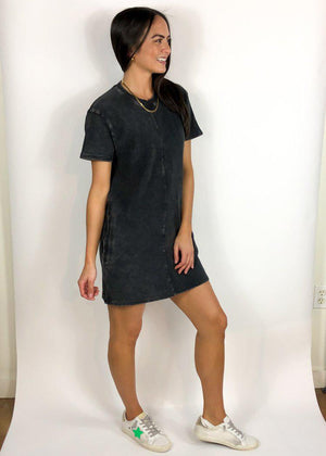 Rejuvenate Short Sleeve Tennis Dress - Black-Hand In Pocket