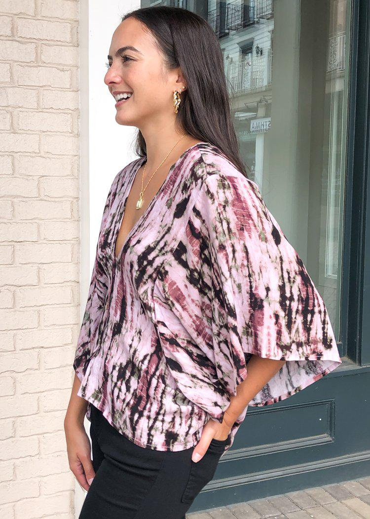 Barcelo Tie Dye Print Kimono Sleeve Blouse-Hand In Pocket