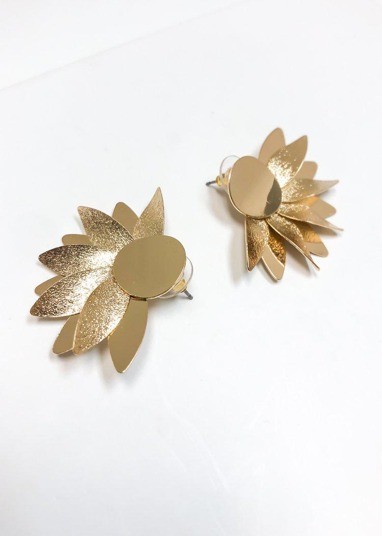 Lily Petal Stud Earrings - Gold-Hand In Pocket