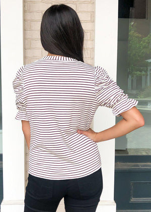 THML Stripe Like I Like It Puff Sleeve Tee-Hand In Pocket