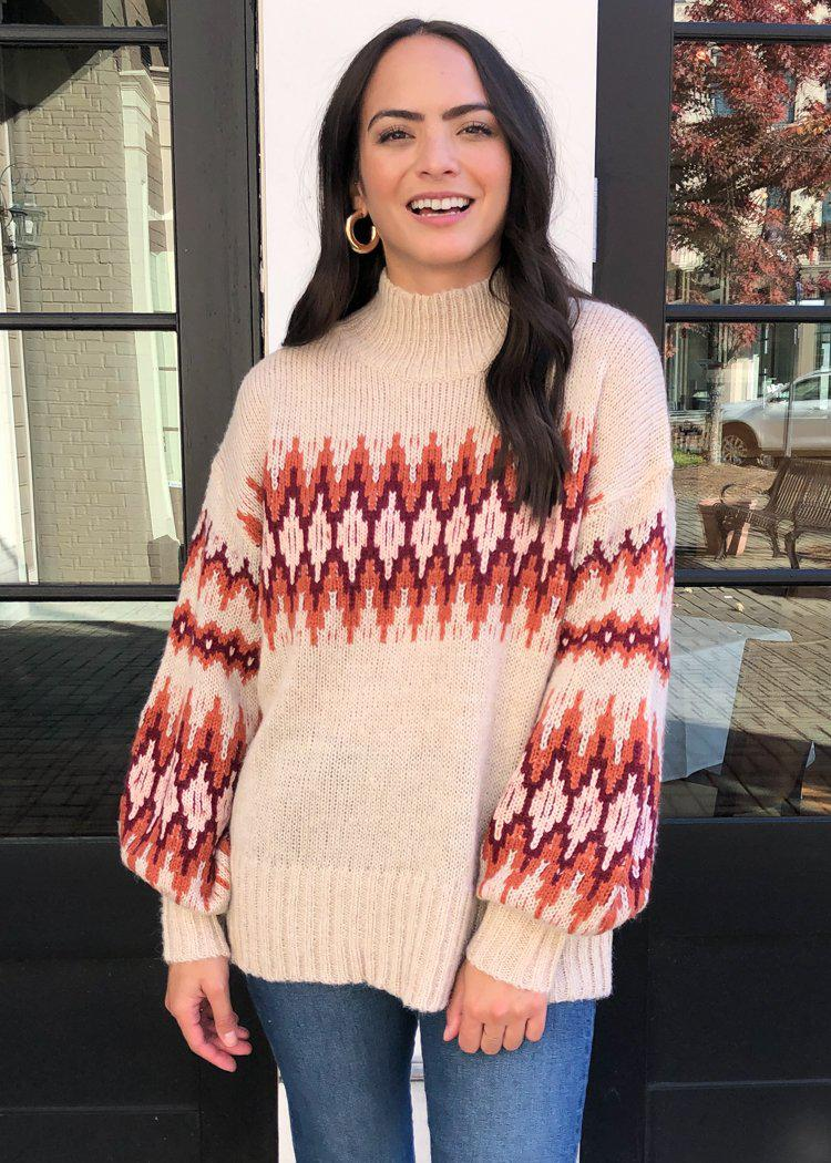 Boulder Fairisle Mock Neck Sweater-***FINAL SALE***-Hand In Pocket