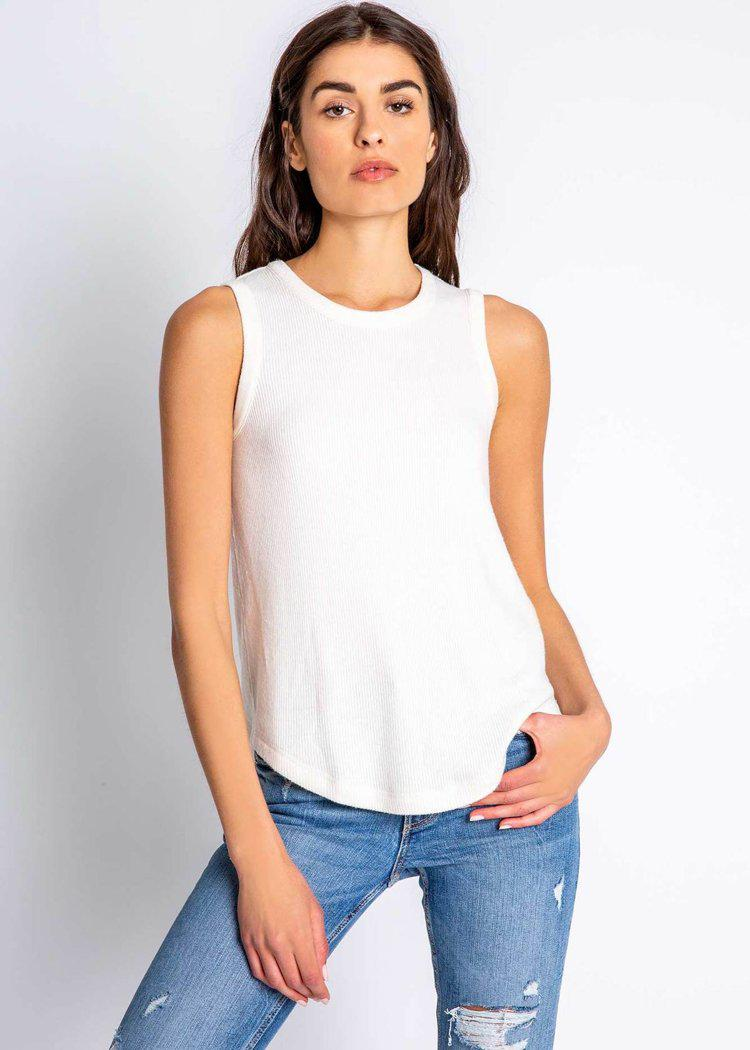 PJ Salvage Textured Basics Tank- Ivory-Hand In Pocket