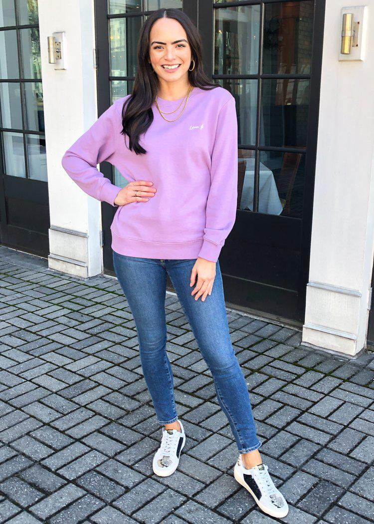 Pistola Nikki Embroidered Sweatshirt - Purple Haze-Hand In Pocket