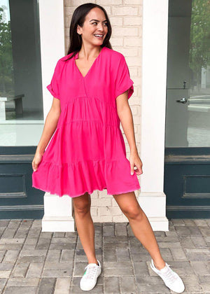 West Port Tiered Shirtdress- Hot Pink-***FINAL SALE***-Hand In Pocket