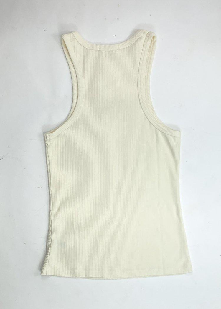 Agolde Organic Cotton Rib Ivory Tank - Paste-Hand In Pocket