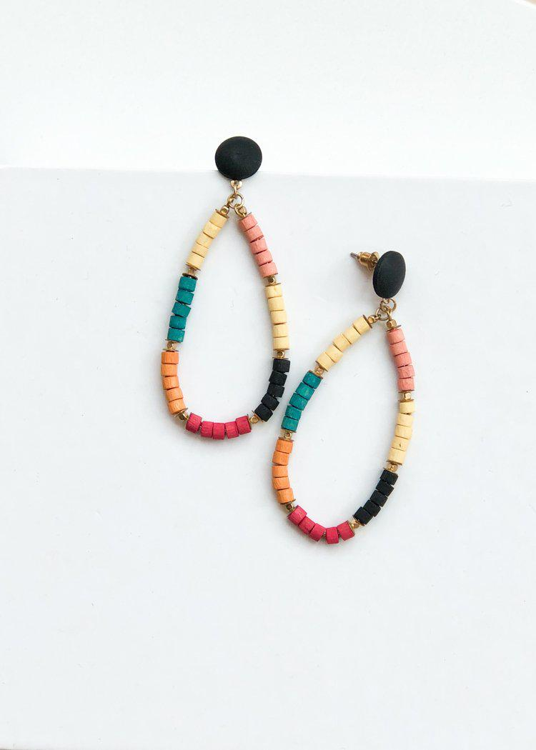 El Nido Wooden Beaded Hoops - Multi-Hand In Pocket