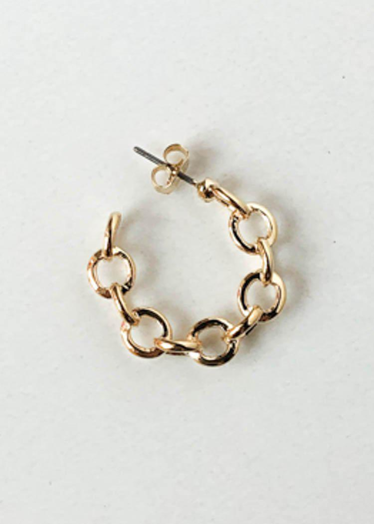 Chan Chan Chain Mini Hoop Earring - Gold-Hand In Pocket