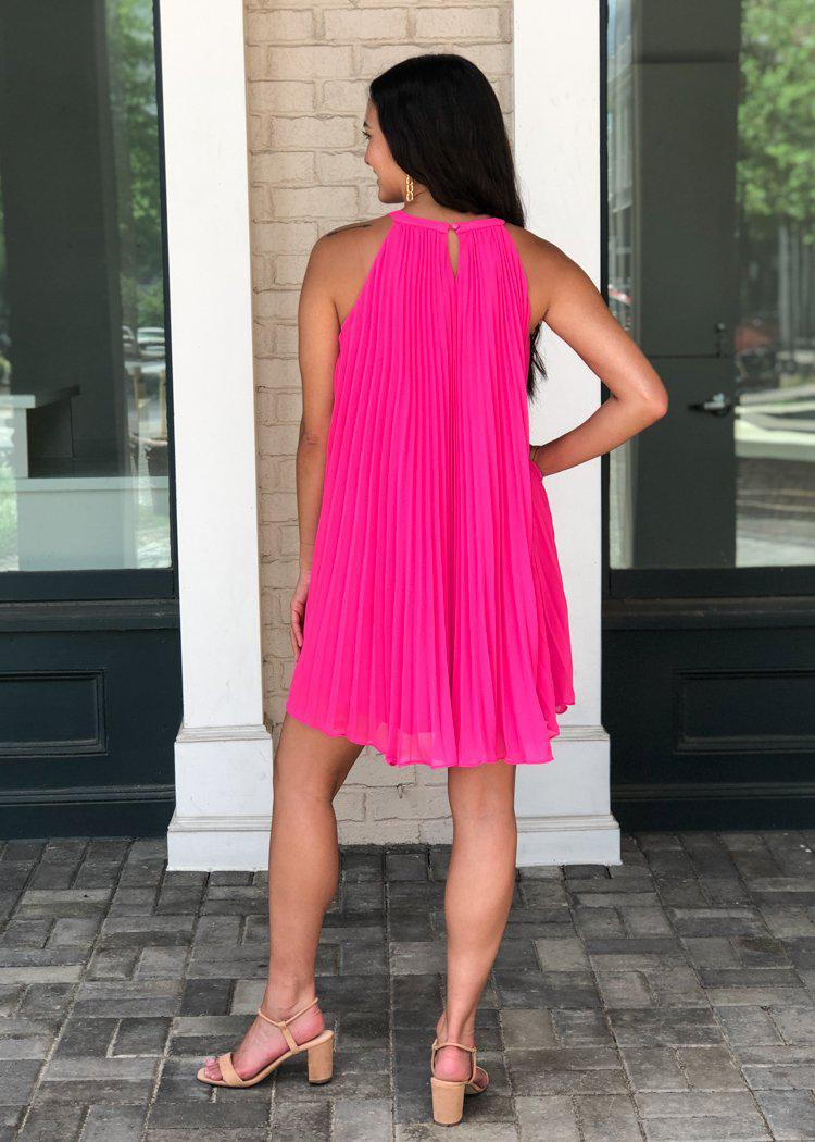 THML Mendoza Pleated Halter A Line Dress - ***FINAL SALE***-Hand In Pocket