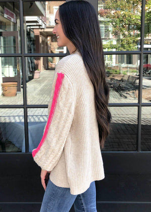 THML Andean Balloon Sleeve Sweater - Beige-Hand In Pocket